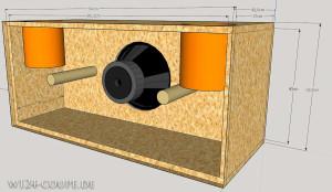 Druckkammer Bandpass für E12SPL - gezeichnet mit SketchUp